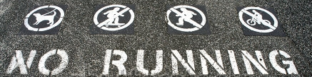 Stock photo no running sign painted on the ground 66767597